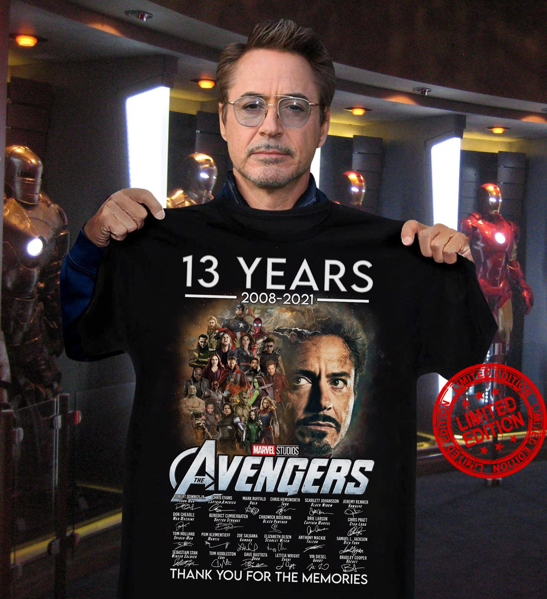13 Years 2008 2021 Marvel Studios Avengers Thank You For The Memories Shirt