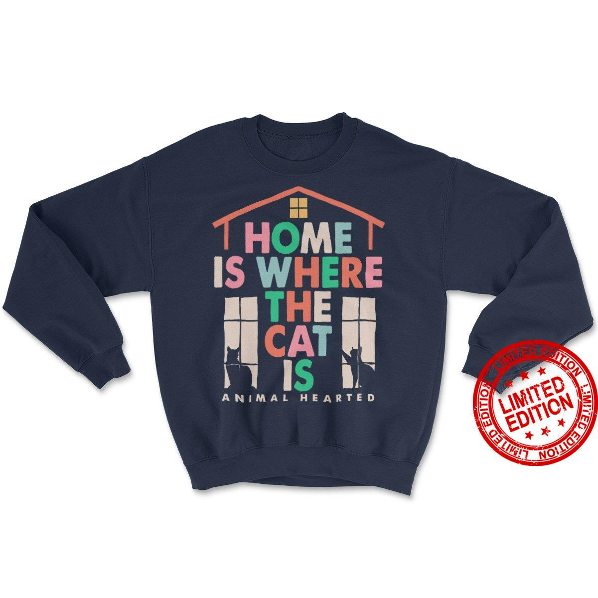 Home Is Where The Cat Is Animal Hearted Shirt