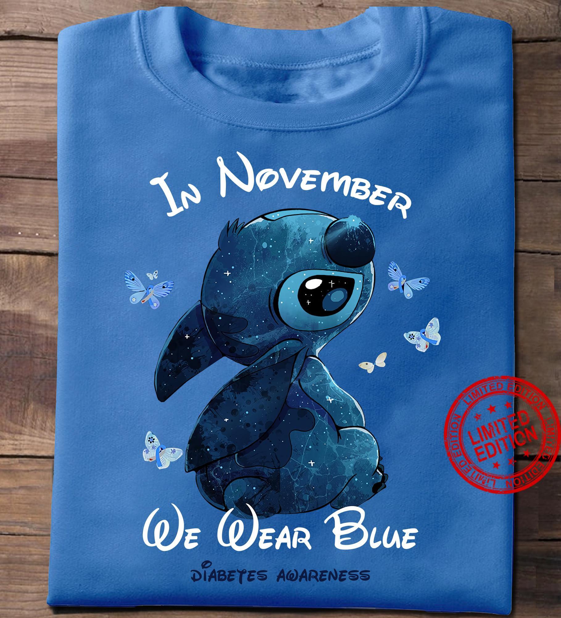 Stitch In November We Wear Blue Diabetes Awareness Shirt