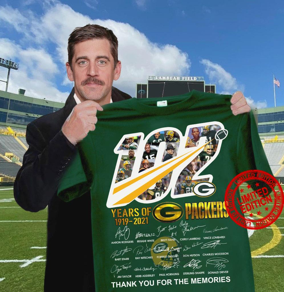 102 Years Of 1919-2021 Packers Thank You For The Memories Shirt