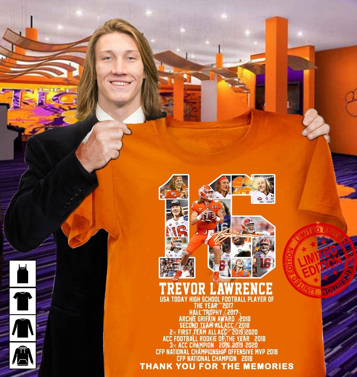 16 Trevor Lawrence Thank You For The Memories Shirt
