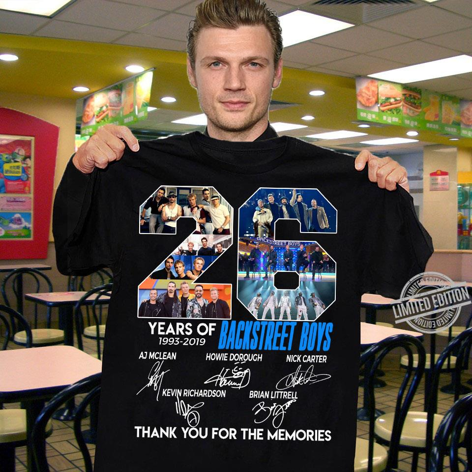 26 Years Of Backstreet Boy Signatures Thank You For The Memories Shirt