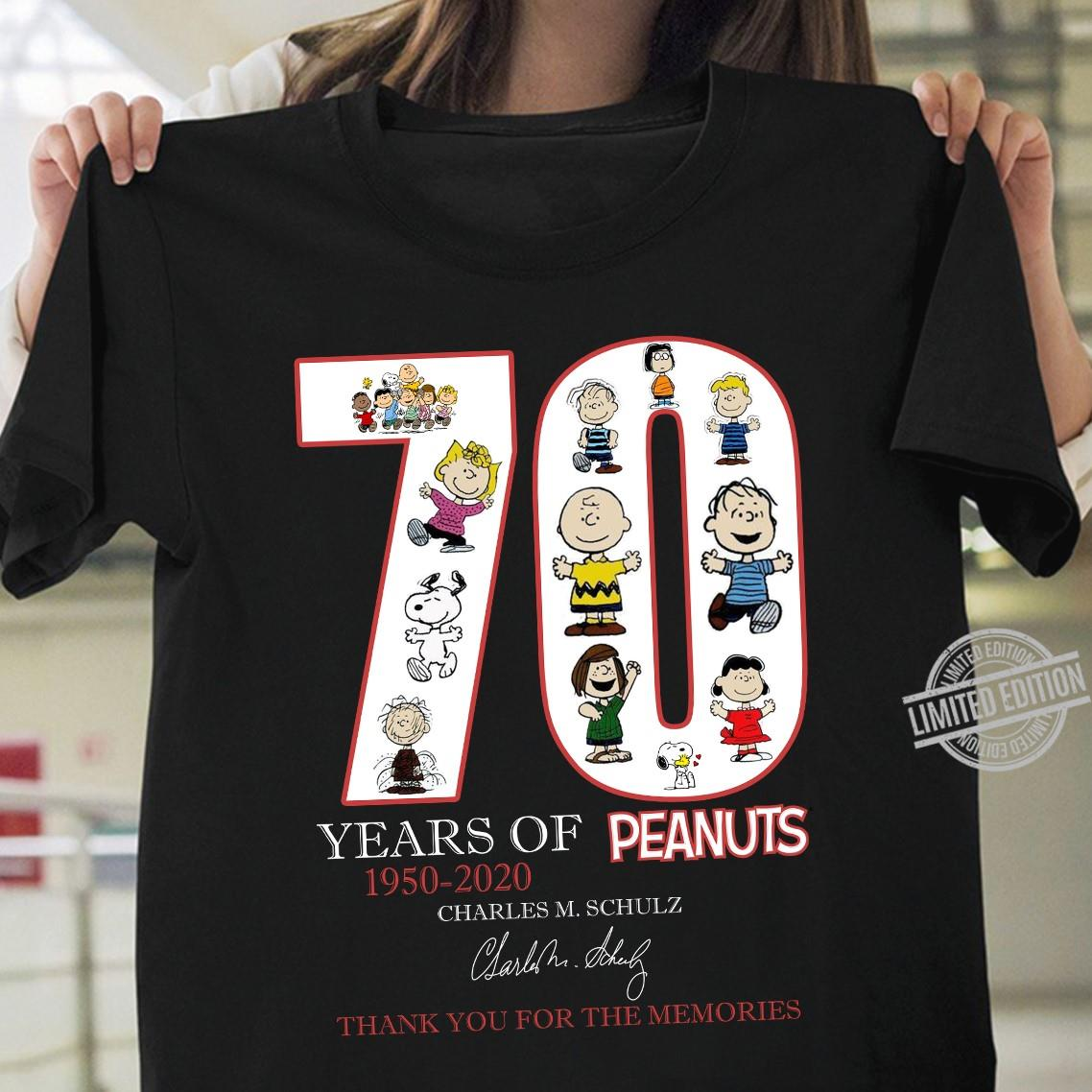 70 Years Of Peanuts 1950 2020 Charles M. Schulz Signature Thank You For The Memories Shirt