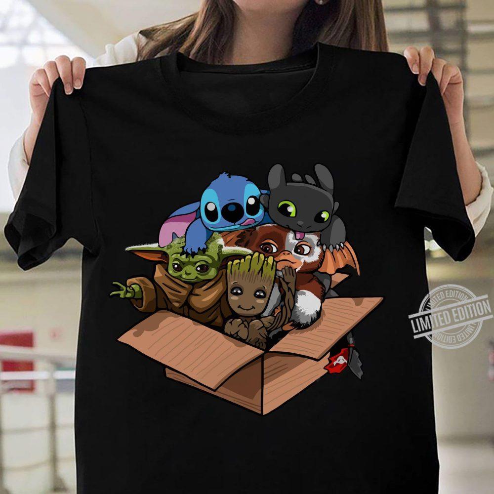 Baby Yoda Baby Stitch Baby Night Fury And Baby Groot In The Box Shirt