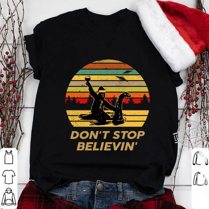 Bigfoot Don't Stop Believe Santa Shirt