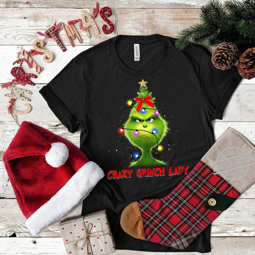 Crazy Grinch Lady Christmas Light Shirt