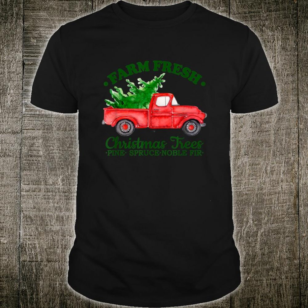 Farm Fresh Christmas Trees Watercolor Vintage Red Truck Shirt