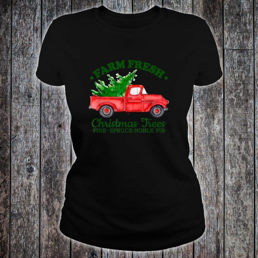 Farm Fresh Christmas Trees Watercolor Vintage Red Truck Shirt ladies tee