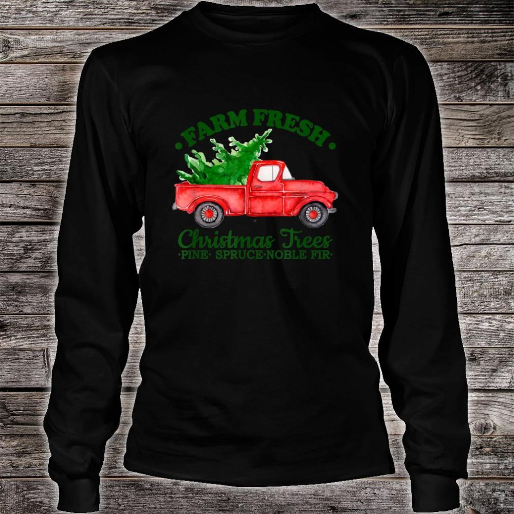 Farm Fresh Christmas Trees Watercolor Vintage Red Truck Shirt long sleeved