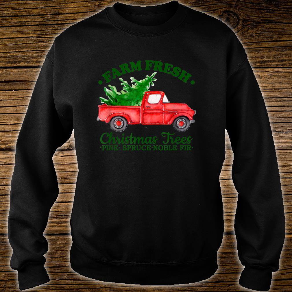 Farm Fresh Christmas Trees Watercolor Vintage Red Truck Shirt sweater
