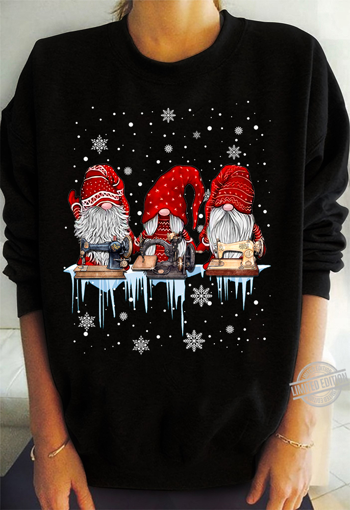 Gnomies Sewing Christmas Shirt