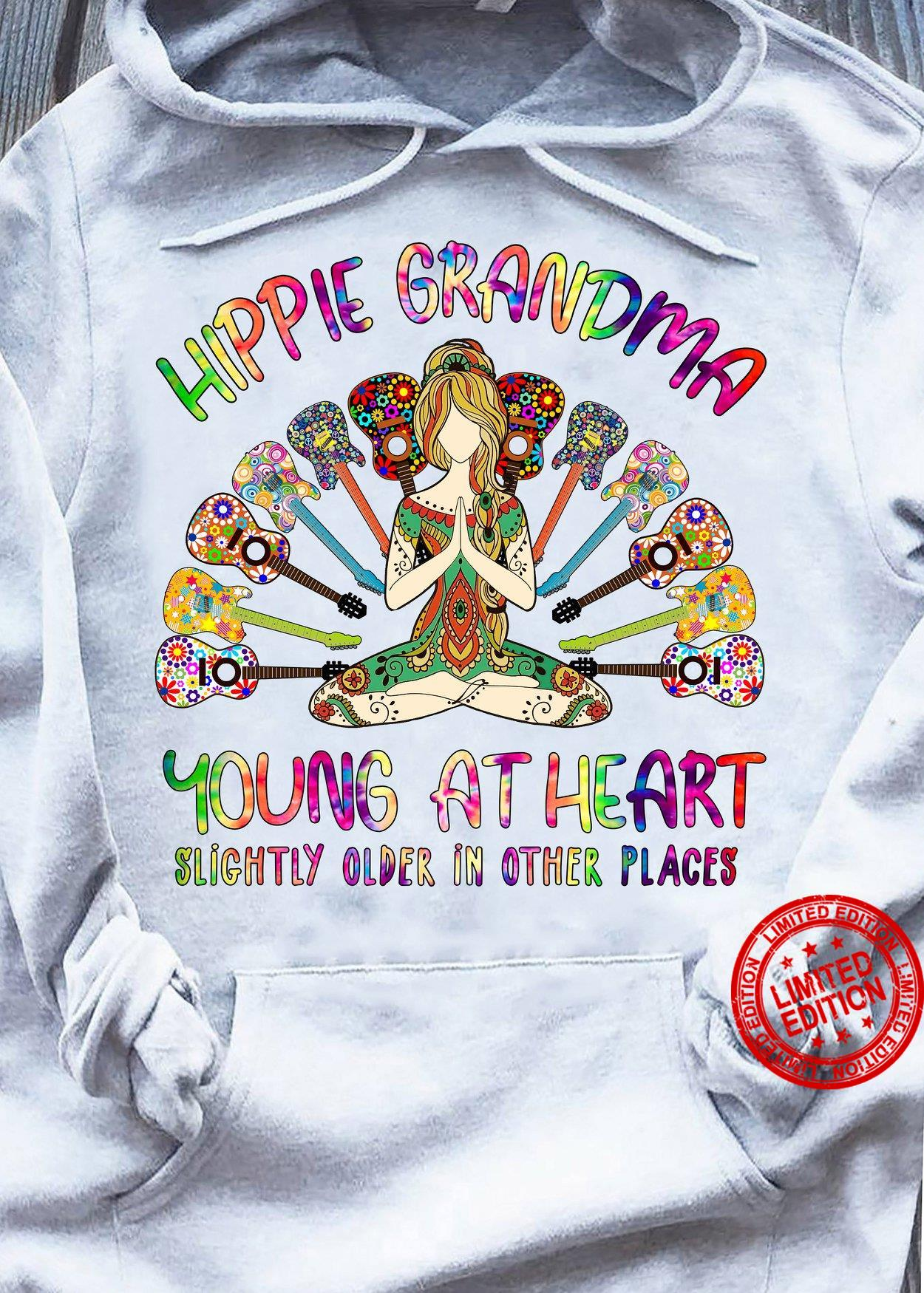 Hippie Grandma Yours At Heart Slightly Older In Other Places Shirt