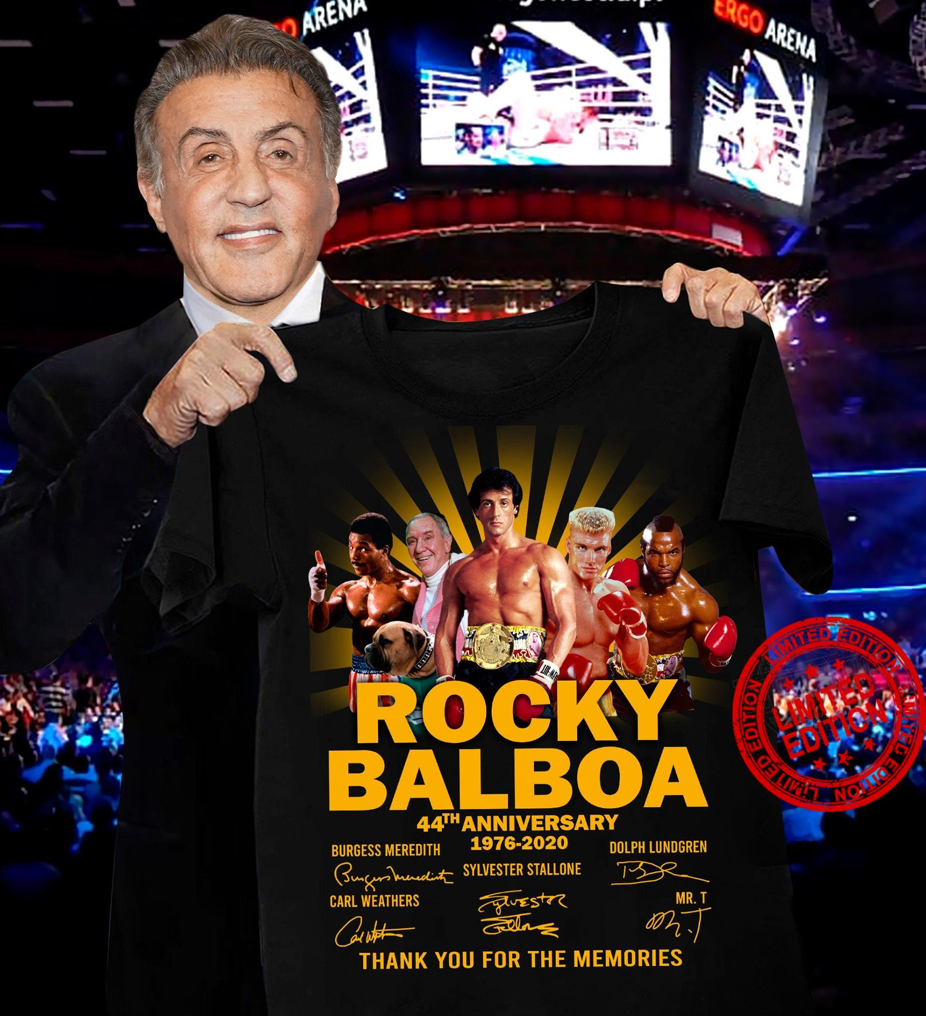 Rocky Balboa 44th Anniversary 1976-2020 Thank You For The Memories Shirt