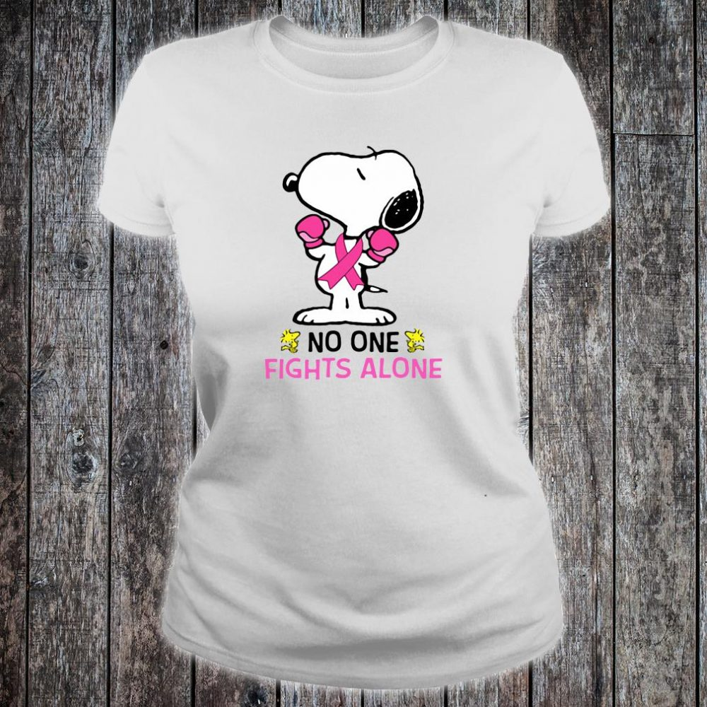 Snoopy no one fights alone breast cancer shirt ladies tee
