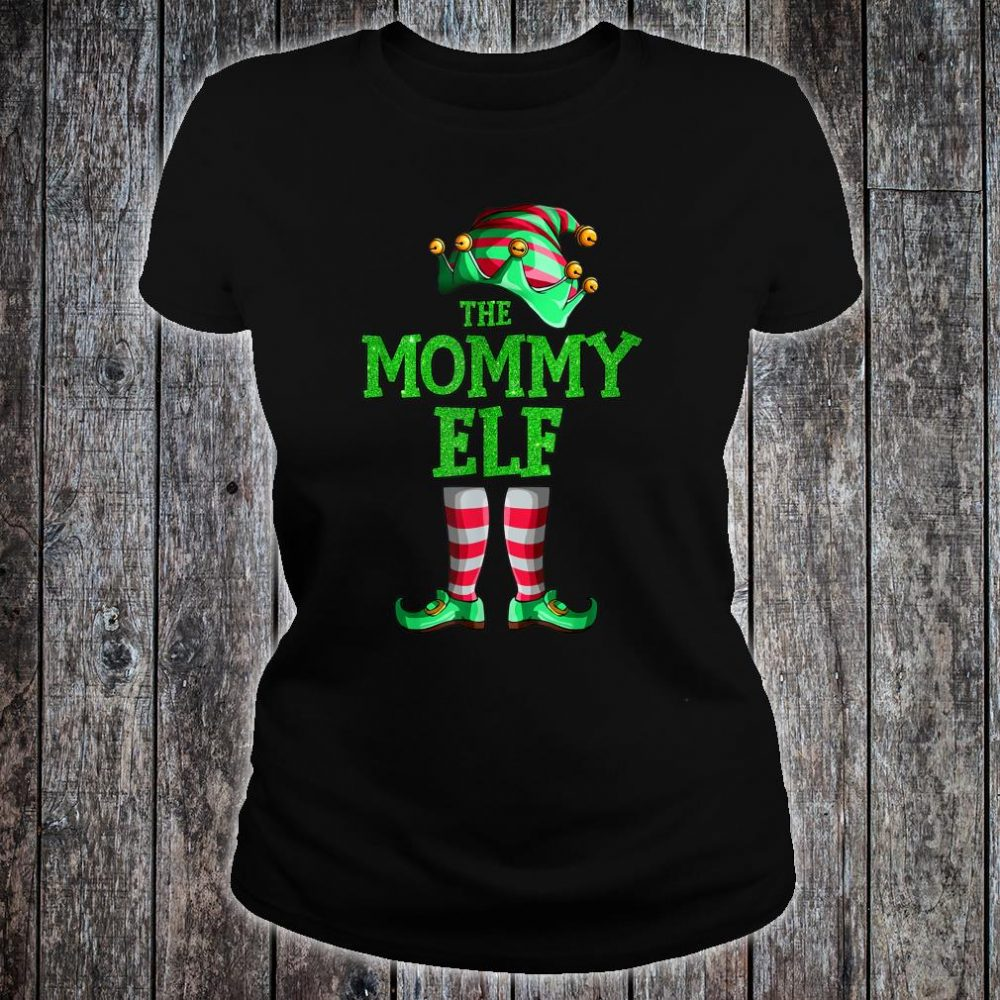 The Mommy Elf Family Matching Group Christmas Shirt ladies tee